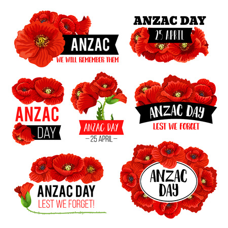 Anzac Day poppy flower memorial card design 向量圖像