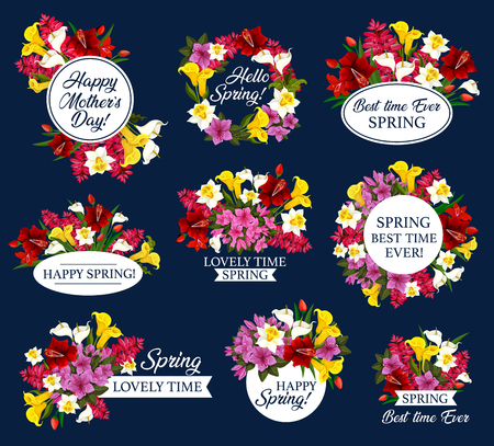 Spring Holiday and Mother Day icon with flower Illustration