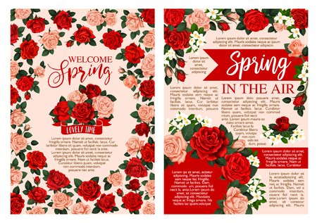 Spring holiday greeting banner of blooming flower Иллюстрация