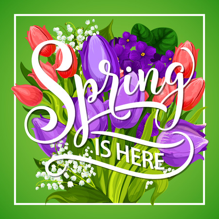 Spring Is Here greeting poster with flower bouquet