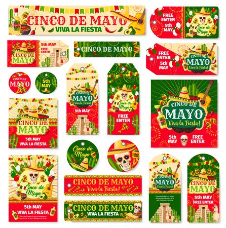 Cinco de Mayo tag and fiesta party invitation card