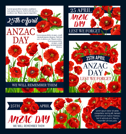 Anzac Day Australian vector Lest We Forget posters Vector illustration.