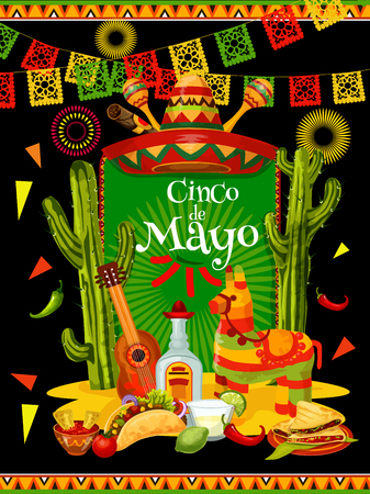 Cinco de Mayo banner for mexican party invitation Vector illustration.