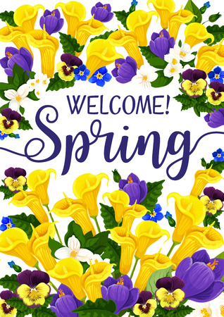 Spring Season banner with flower, blooming plant Ilustracja