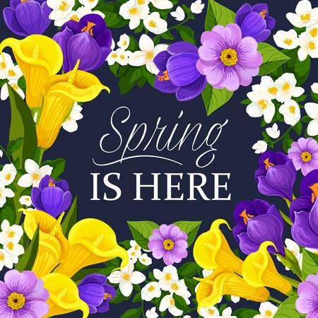 Vector lente bloemen bos wenskaart Stock Illustratie