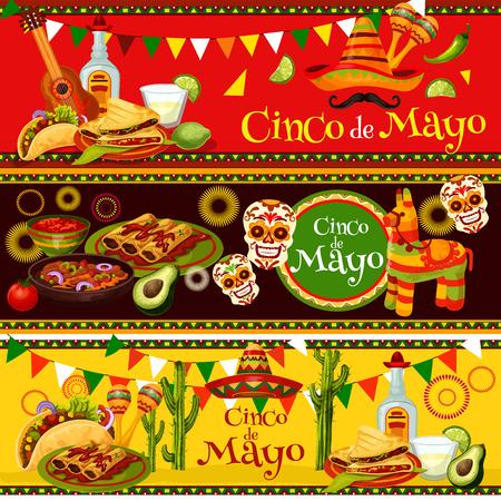 Mexican Cinco de Mayo vector fiesta food banners Vectores
