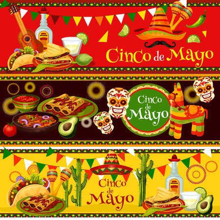 Mexican Cinco de Mayo vector fiesta food banners Illustration