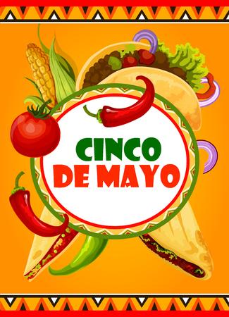 Mexican Cinco de Mayo vector Mexican fiesta card