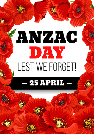 Anzac Day 25 April poppy vector greeting card