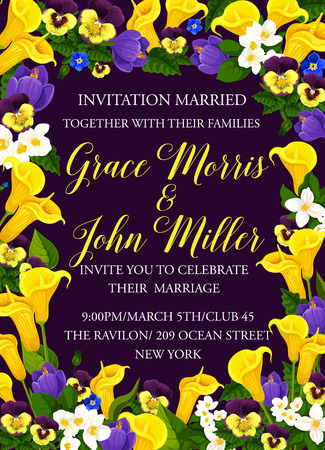 Wedding or marriage ceremony event invitation card design of blooming flowers. Vector Save the Date wedding celebration with bride and bridegroom names and tulips or orchids and crocuses blossoms Иллюстрация