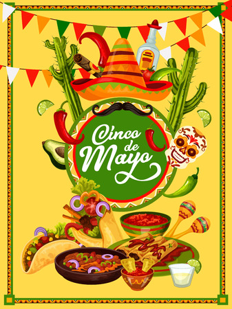 Cinco de Mayo fiesta party food and drink festive banner design. Sombrero hat, chili and jalapeno pepper, maracas, tequila and traditional snack, framed with ethnic ornament and bunting Vector illustration.