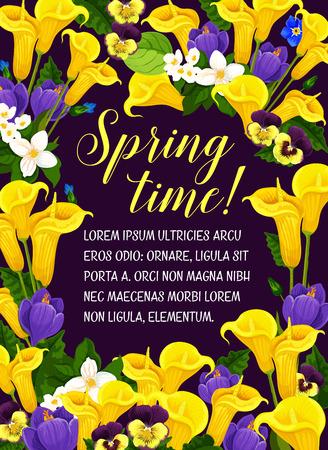 Lente tijd poster voor seizoensgebonden vakantiegroeten en wenscitaten. Vector bloemdessin van bloeiende bloemen, orchidee bloeit of krokussen bos en lente calla lelie bloemen boeketten