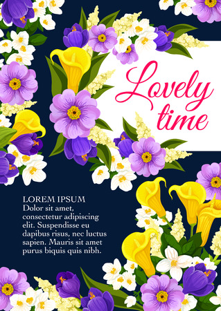 Springtime lovely time floral bunch poster. Vector design of spring yellow tulips and white snowdrops, springtime bouquet of blue crocuses and yellow callas or daisy blossoms