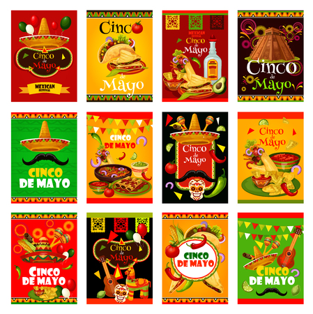 Cinco de Mayo greeting card set for mexican holiday design. Sombrero, maracas and guitar, fiesta party food and drink, chili pepper, jalapeno and tequila, Mexico flag, cactus and pinata festive banner Vector illustration. Vettoriali