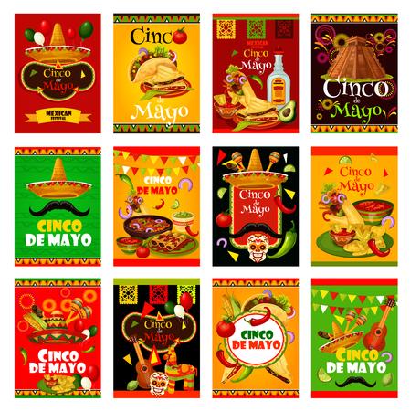 Tarjeta de felicitación del Cinco de Mayo para diseño de vacaciones mexicanas. Sombrero, maracas y guitarra, comida y bebida de fiesta, chile, jalapeño y tequila, bandera de México, cactus y piñata festiva banner ilustración vectorial.