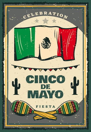 Cinco de Mayo mexican holiday retro banner for invitation template. Fiesta party maracas, flag of Mexico and cactus, decorated with festive bunting for Puebla Battle anniversary celebration Vector illustration.