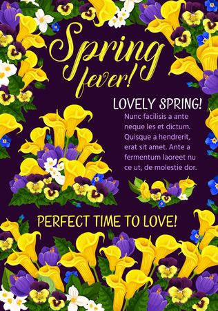Spring Season Holiday floral banner with flower blossom frame. Festive bouquet of crocus, calla lily, pansy and jasmine, green leaf and flourish branch for Springtime Holiday greeting card design Vector illustration.