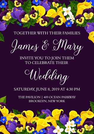Wedding party invitation card with bride and bridegroom names and celebration event address. Vector design of blooming tulips and orchids flowers for Save the Date wedding or marriage Illustration