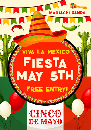 Viva Mexico fiesta party invitation banner for Cinco de Mayo holiday celebration. Mexican festival sombrero with maracas, chili and jalapeno pepper, cactus and Mexico flag poster, decorated by bunting Vector illustration. Ilustração