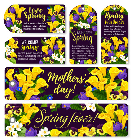 Flower tag for Spring Season and Mother Day holiday template. Flower and blooming garden plant floral bouquet with crocus, calla lily, pansy and jasmine label for Springtime season holiday design Vector illustration.