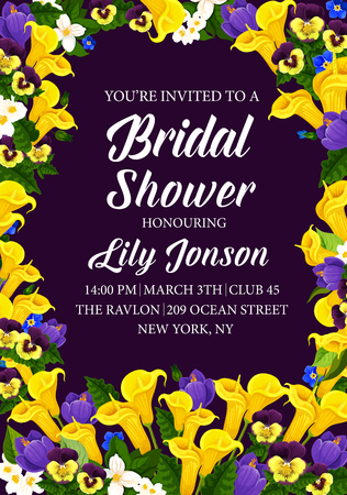 Engagement party or bridal shower invitation card. Vector design of blooming flowers bouquet with callas, tulips or crocuses and lily blossoms for wedding or marriage celebration event Иллюстрация