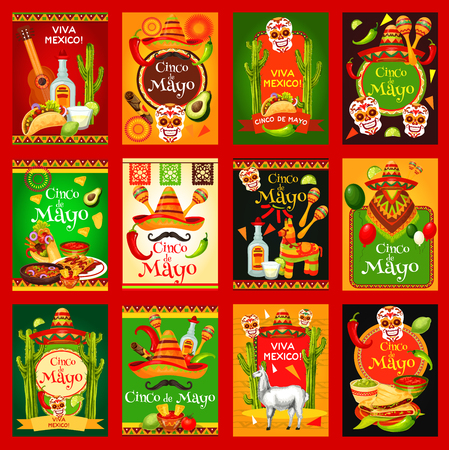 Cinco de Mayo Mexican holiday fiesta celebration posters. Vector Mexico flag, sombrero and poncho on mustaches, jalapeno pepper or tequila and avocado, guitar or maracas for Mexican Cinco De Mayo Vettoriali