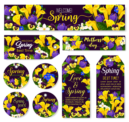 Mother Day flower tag for Spring Season Holiday celebration template. Calla lily, crocus and pansy flower, blooming jasmine branch and green leaf of garden plant for festive floral label design Vector illustration. Illusztráció