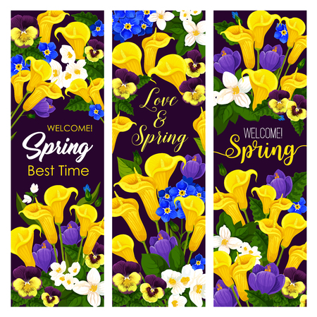 Vector lovely spring time blooming flowers banners