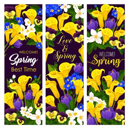 Vector mooie bloeiende de lentebanners van de de lentetijd