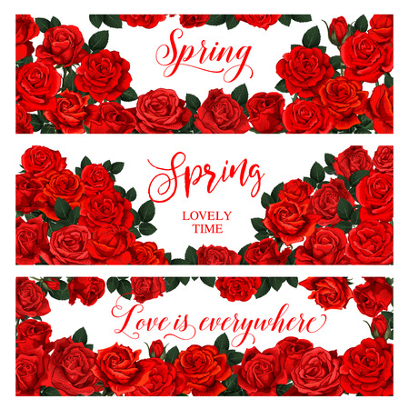 Springtime seasonal banners of roses flowers bouquets frame for spring season holiday greeting card. Vector floral design of blooming spring roses bunch with love quotes text Ilustração
