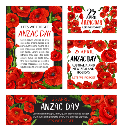 Anzac Day poppy flower memorial card design Illustration