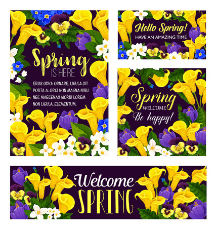 Vector spring flowers seasonal greeting posters Ilustracja