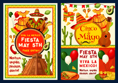 Cinco de Mayo greeting card or poster for Mexican holiday celebration.
