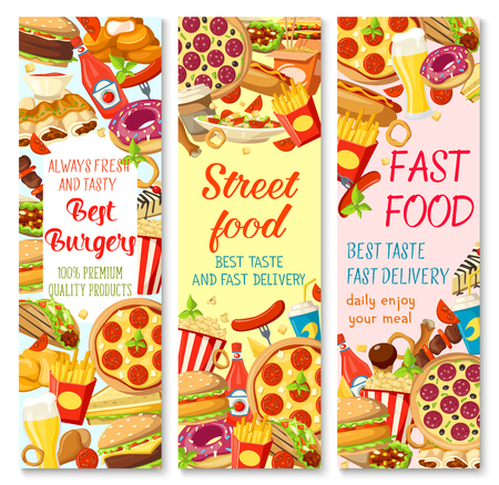 Fast food restaurant banner with burger sandwich and street food snack.
