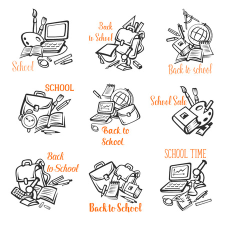Back to School vector stationery icons, outline Illustration
