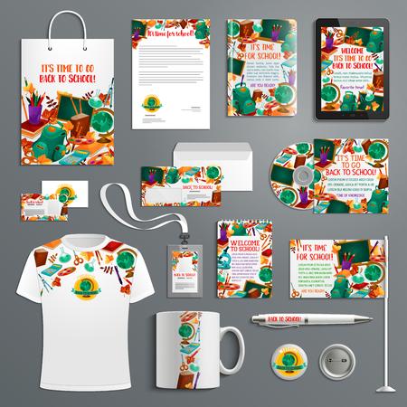 School promo branded stationery vector icons Illustration