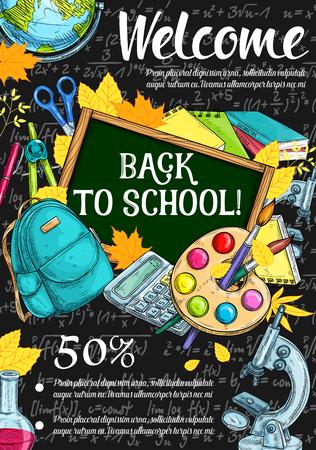 Back to school discount offer sale banner design