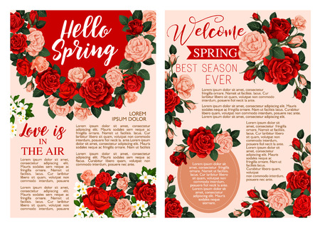 Hello Spring floral poster with rose flower frame