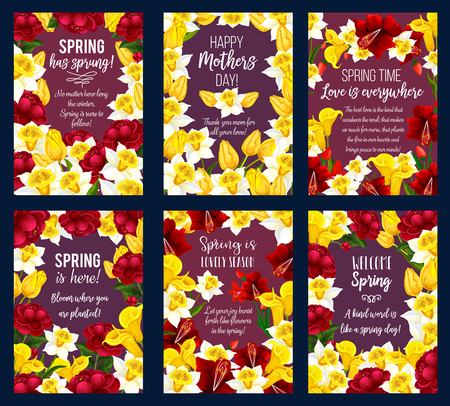 Spring Season Holiday banner with flower frame