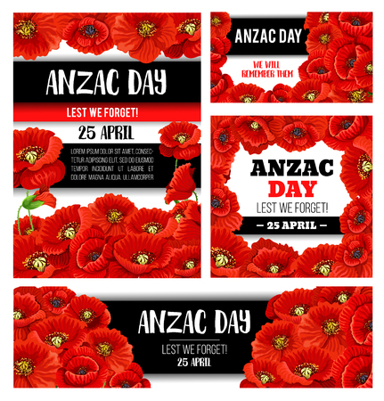 Anzac Day memorial banner with red poppy flower 矢量图像
