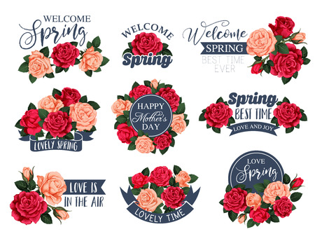 Vector flowers roses icons for spring Mother day