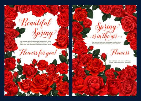 Spring floral poster with red rose flower frame Illustration