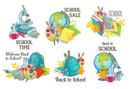 Back to School vector study stationery icons  イラスト・ベクター素材