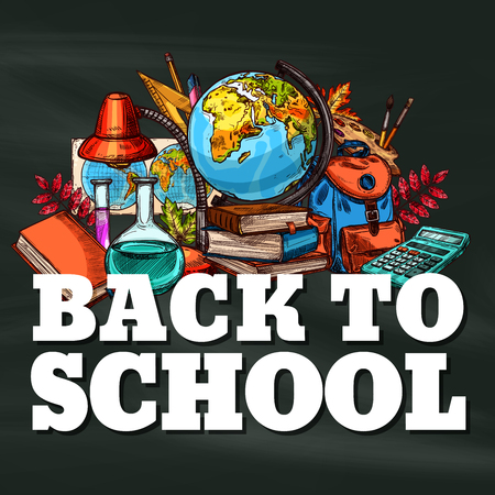 Back to School vector stationery sketch poster Stock fotó - 98767596
