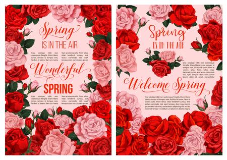 Spring rose flower blossom festive poster design