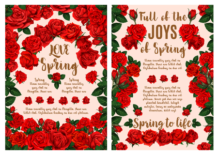 Red rose flower wreath greeting poster for Spring Season holiday template. Floral bouquet of blooming garden plant, flower bud, green leaf and greeting wishes for Springtime themes design Illustration