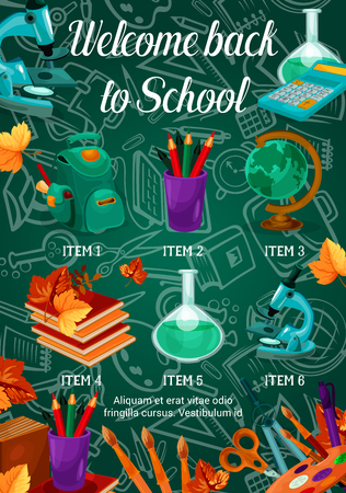 Back to School poster template vector illustration Illustration