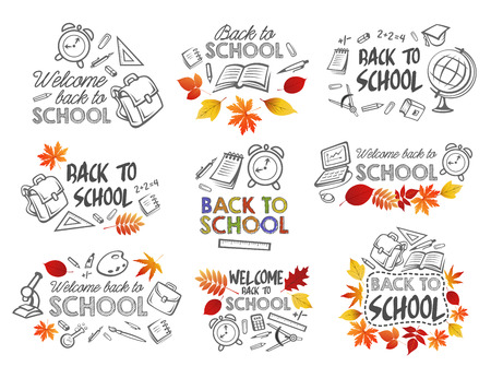 Back to School vector icons set