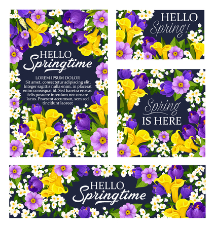 Spring season holiday poster template vector illustration Ilustracja