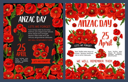 Anzac Remembrance Day poster with poppy flower